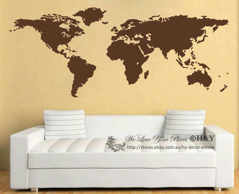 Map Wall Decor Unique World Map Wall Art Vinyl Decal Stickers Home ...