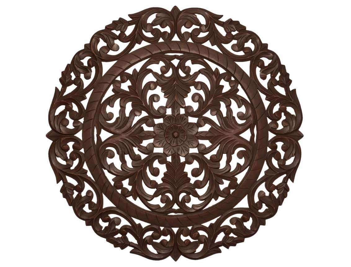 Wood medallion wall art in brown finish