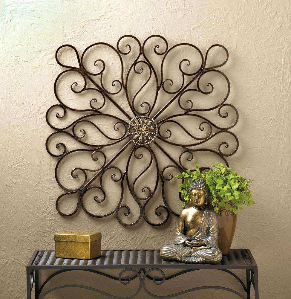 Wholesale Wrought Iron Scrollwork Medallion Wall Decor Plaque