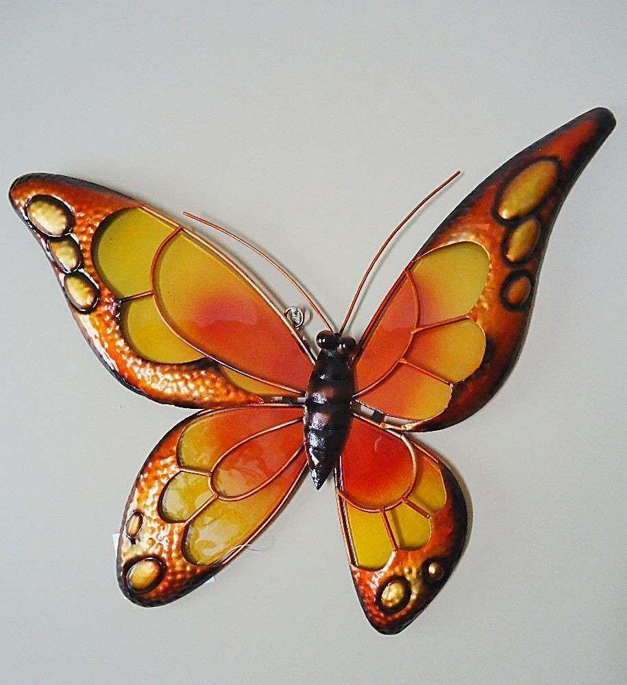 Butterfly Wall Art Orange Stained Glass & Metal Monarch In