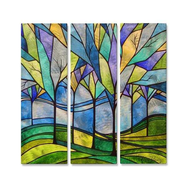 Peggy Davis Stain Glass Trees Metal Wall Decor