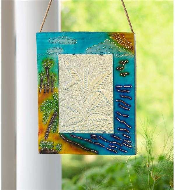 Handcrafted Lighted Tropical Metal and Glass Wall Art in