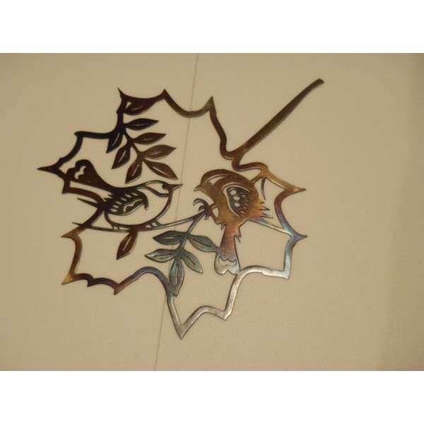 Two Bird Inside a Leaf Contour Heat Colored Metal Art