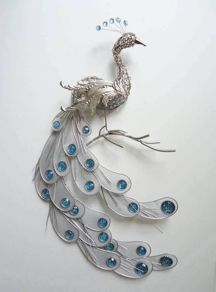 Fanciful Silver Peacock Wall Art Decor Metal Hanging Bird