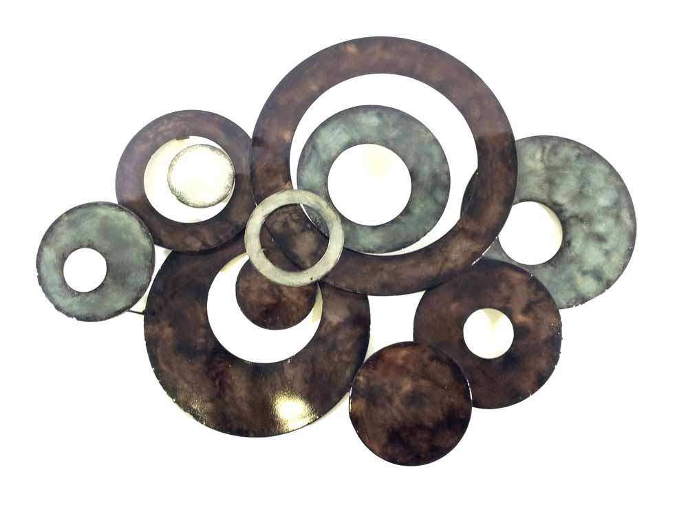 Metal Wall Art Bronze Linked Circle Disc Abstract