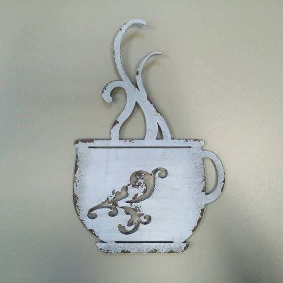 Metal Coffee Cup Wall Decor Luxury Metal Coffee Cup Wall Decor White and Distressed Upcycled