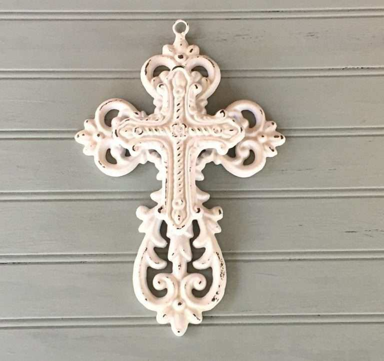Metal Cross Wall Decor Beautiful White Decorative Cross Cast Iron ...