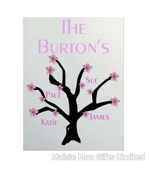 Personalised Family Tree Names Metal Wall Art Plaque Sign