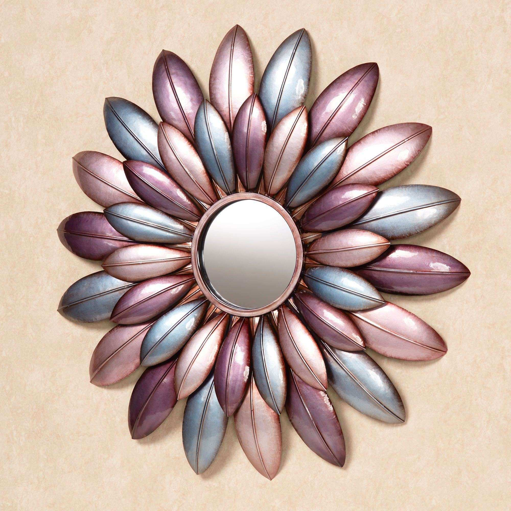 Arris Pastel Floral Mirrored Metal Wall Art