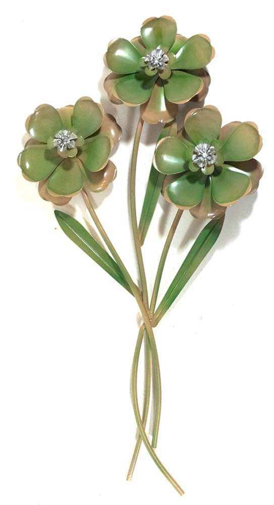 Metal Wall Art Green Flower Trio