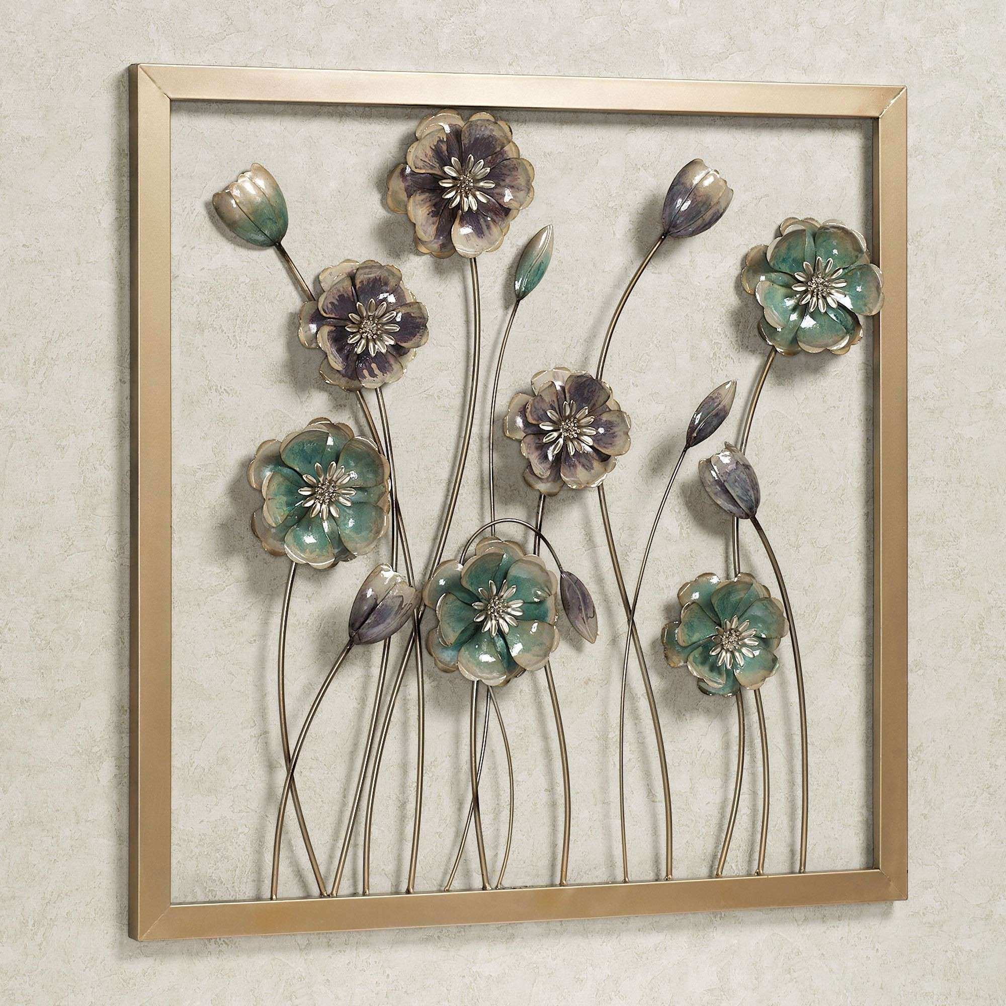 Metal Flower Wall Decor Elegant Floral Salute Square Metal Wall Art