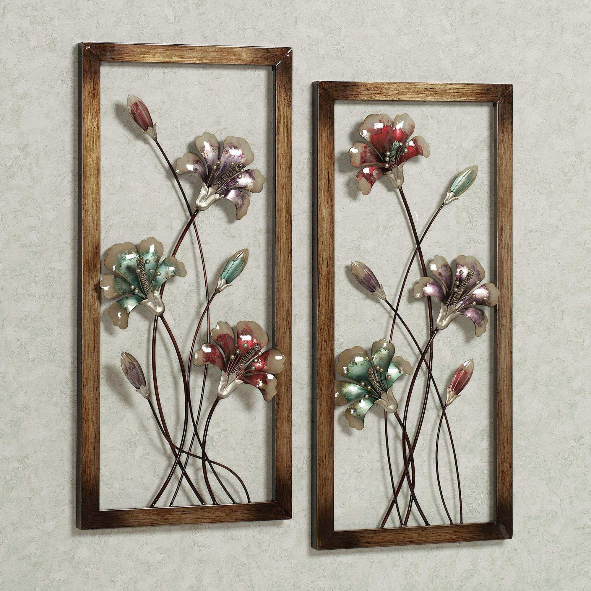 Garden Whispers Floral Metal Wall Art Panel Set