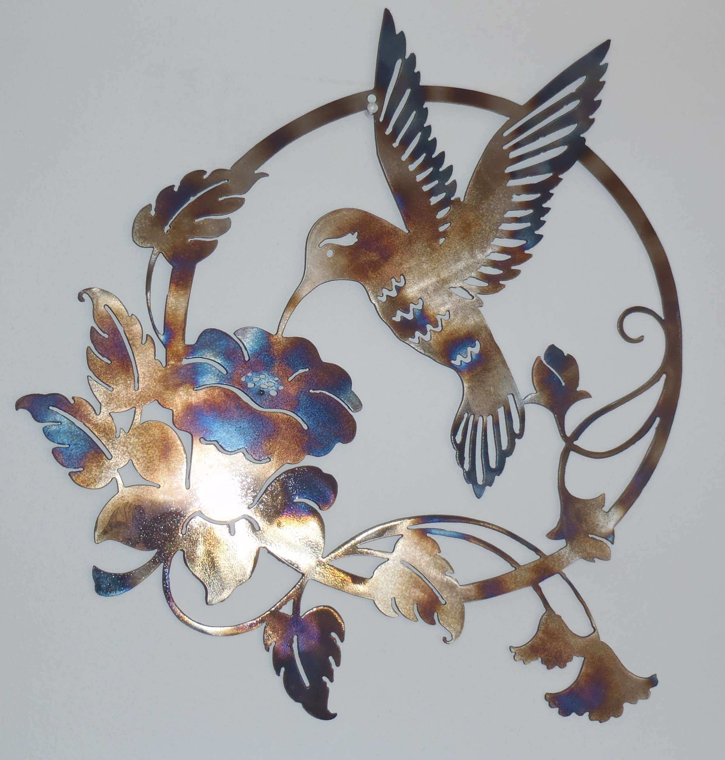 Hummingbird and Flower Metal Sign Wall decor Metal Art