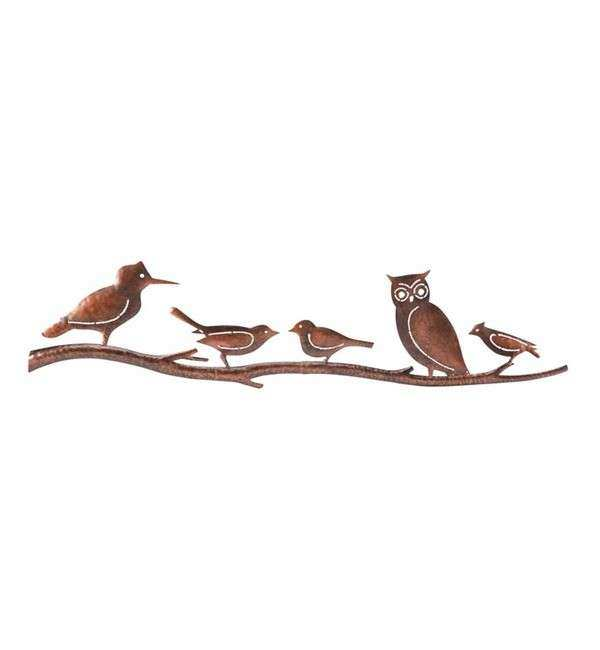 Handcrafted Birds on a Branch Metal Wall Art in Patio Wall
