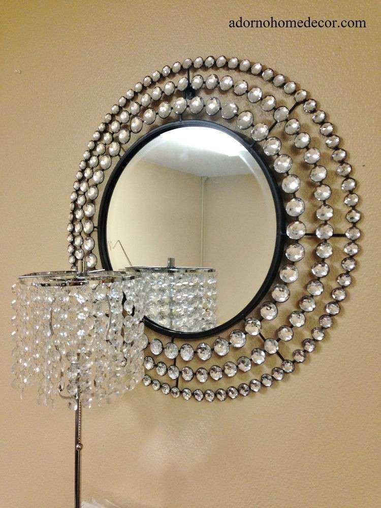 Metal Wall Round Crystal Jewel Mirror Rustic Modern Chic