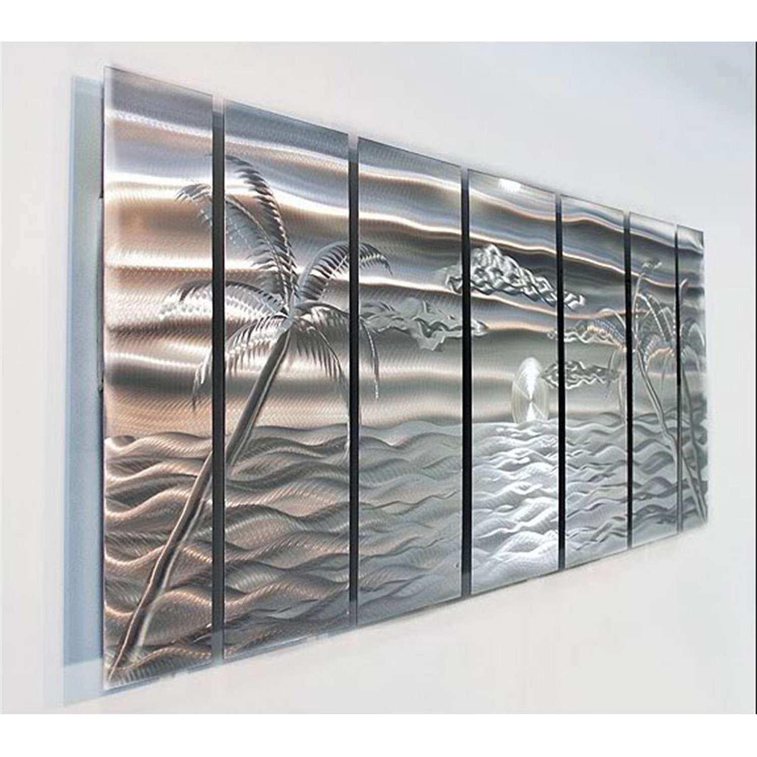 Silver Tropical Beach Inspired Abstract Metal Wall Art by