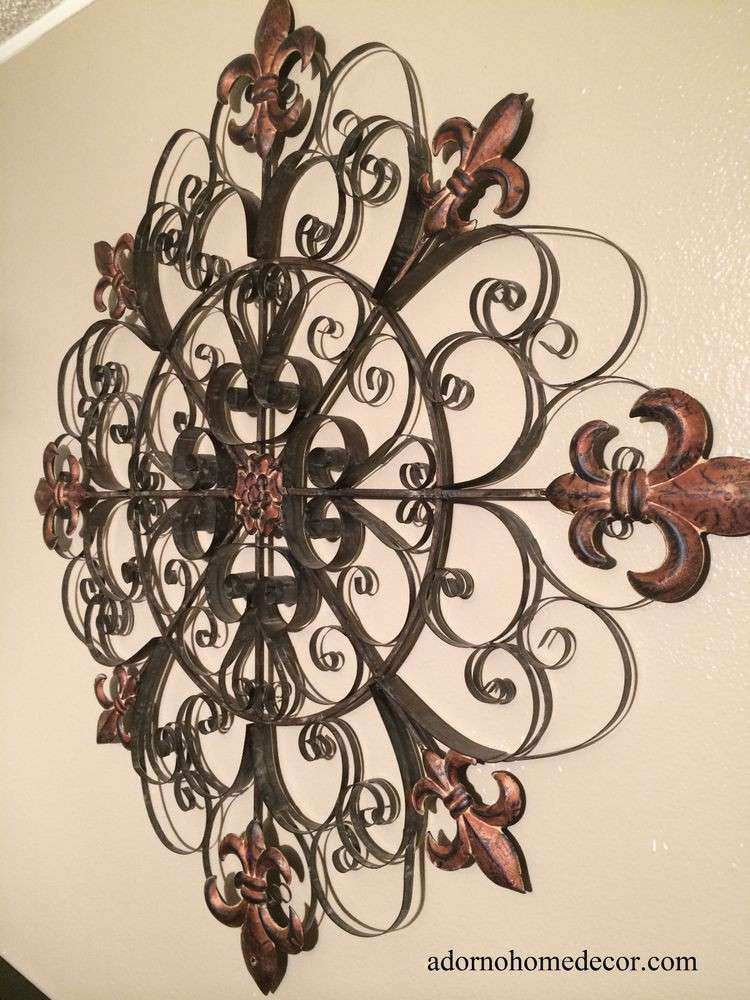 Unique Fleur De Lis Round Metal Wall Rustic Scroll
