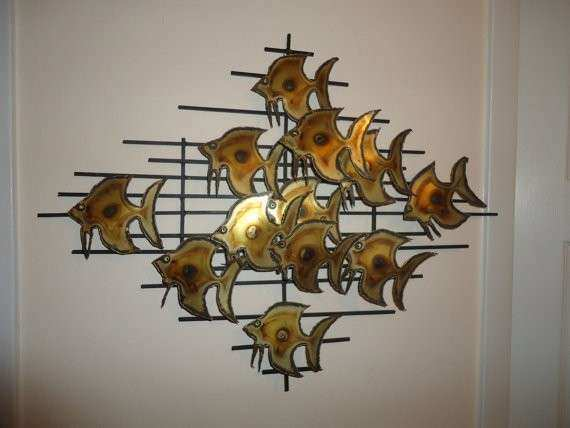 Brutalist Mid Century School of Fish Metal Art by