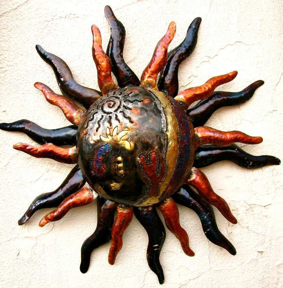 "WALL HANGING METAL SUN DECOR LARGE HAND MADE 30"" DESERT"