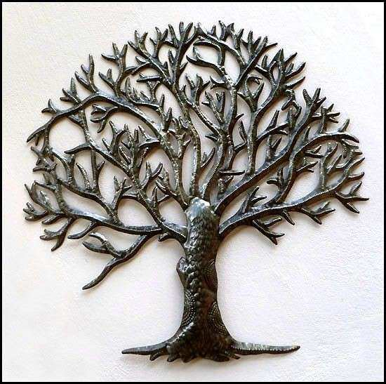 Tree Design Metal Wall Hanging Handcrafted Haitian