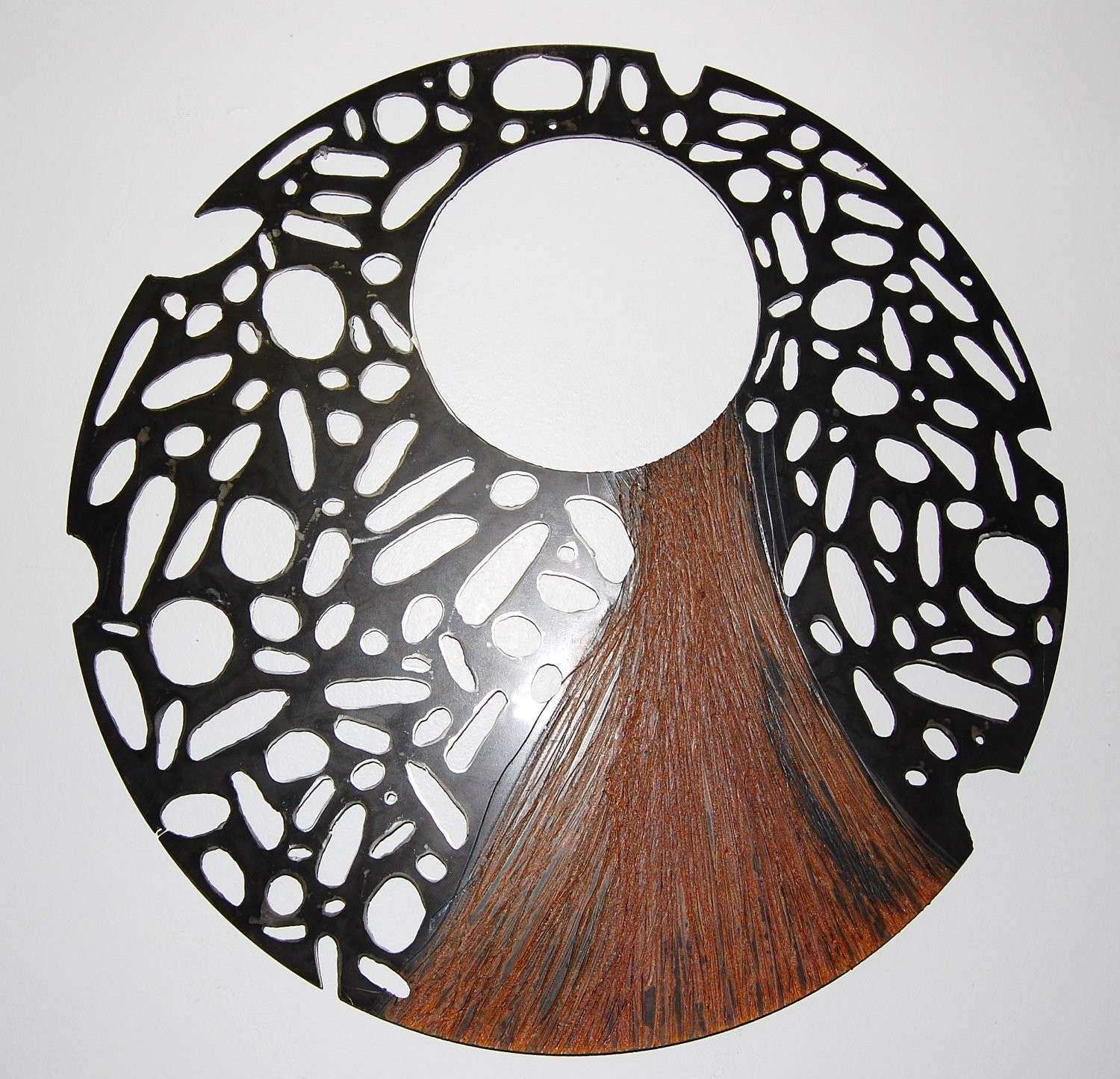 Steel Sculpture Recycled Metal Wall Art Round
