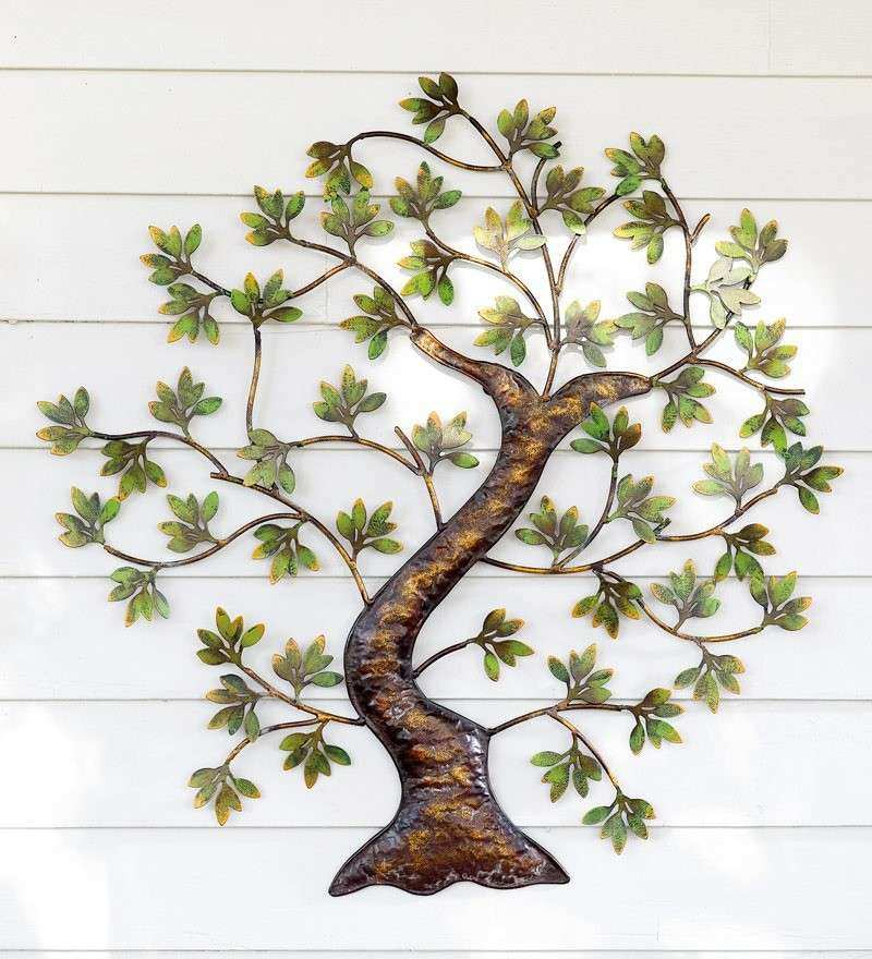 Metal Twisted Tree with Green Foliage Wall Art