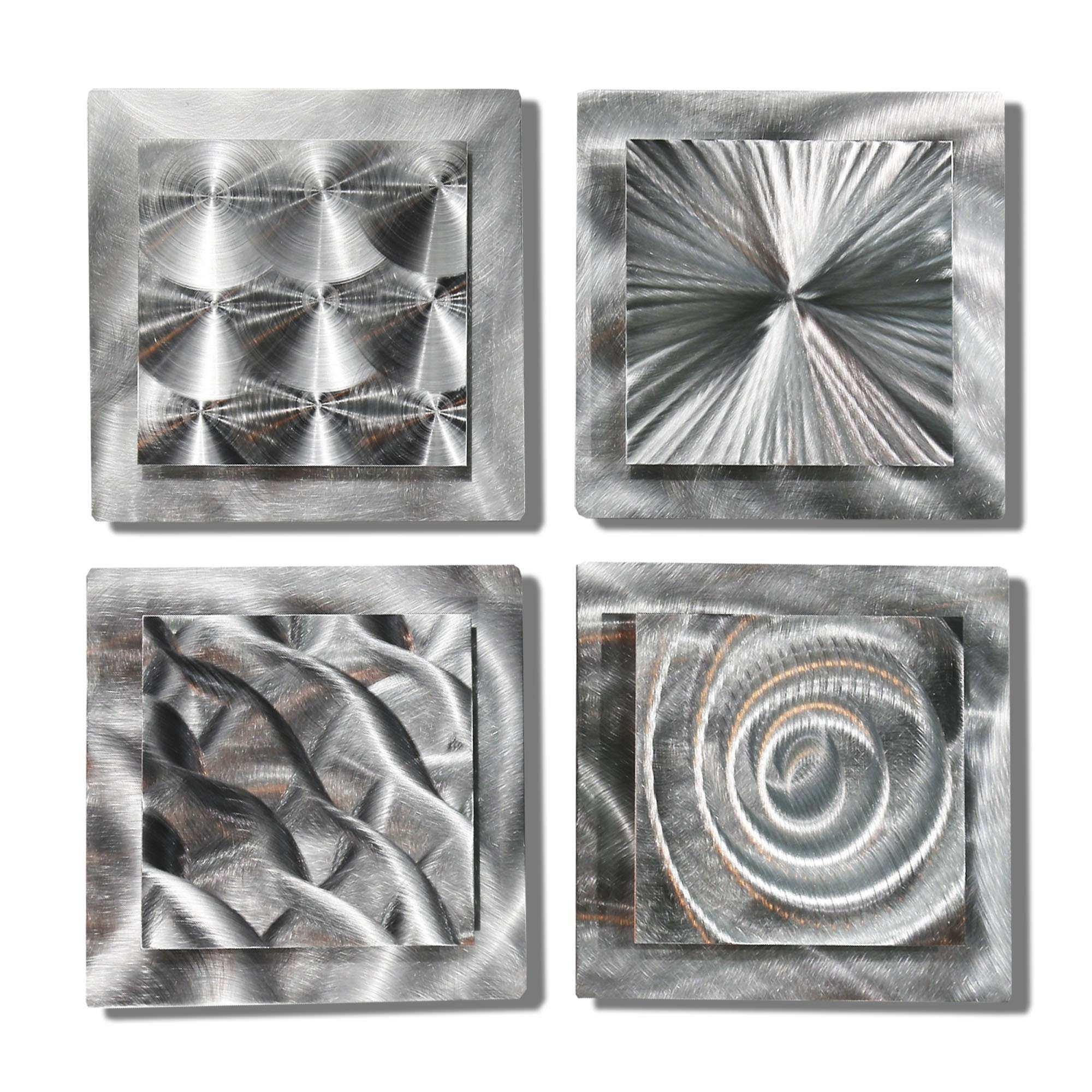 Four Squares Abstract Silver Metal Wall Sculpture