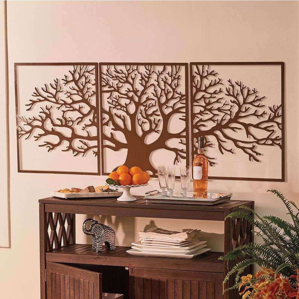 Metal Wall Art Framed 3 Pc Set Picture Outdoor