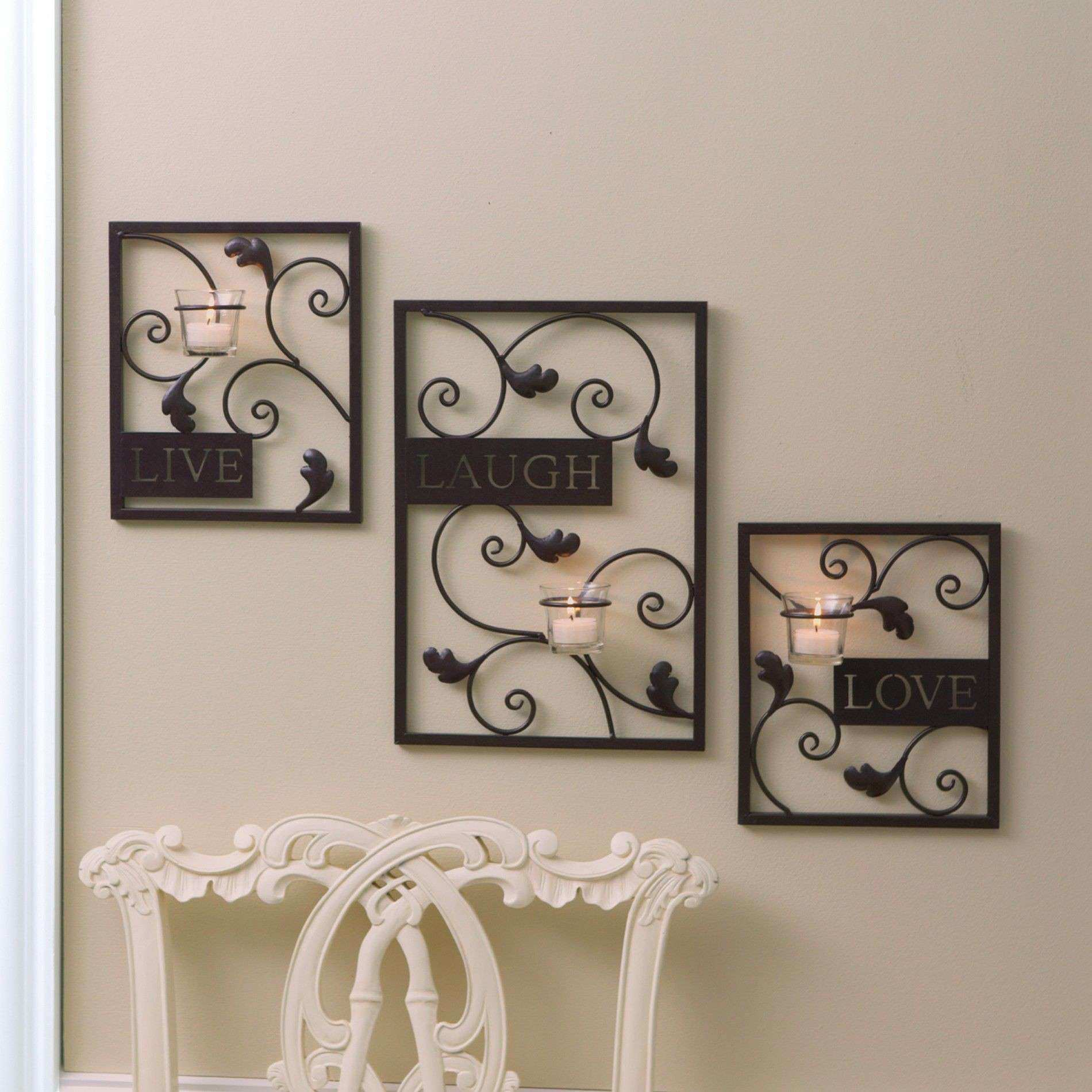 Essential Home Wall Tealight Holders live Laugh and Love