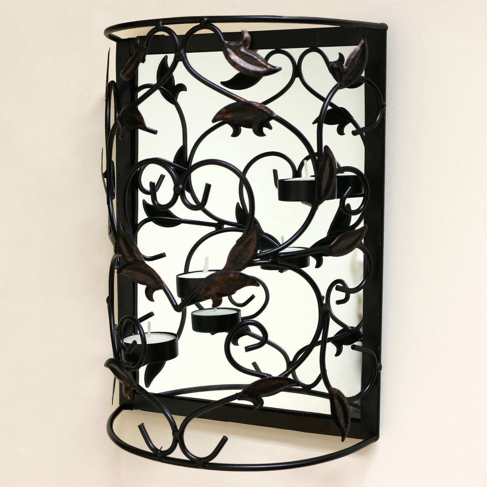 Wall Mounted Metal Candle Holder with Mirror Sconce Shabby