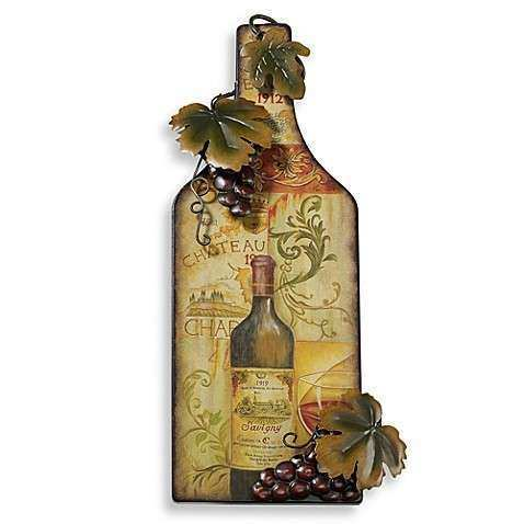 Red Wine Bottle Metal Wall Art Plaque Bed Bath & Beyond