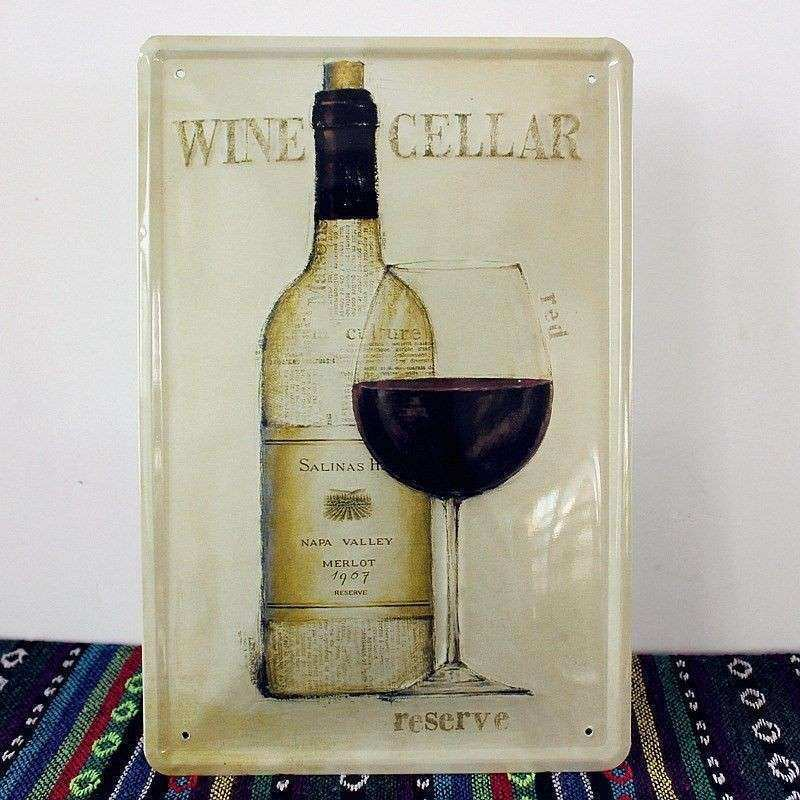 Red Wine Cellar Tin Sign Metal Art Prints Restuarant Bar