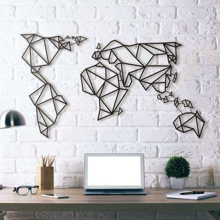 Metal World Map Wall Art Unique Wall Art Ideas For Bedroom Best Home Design  Ideas