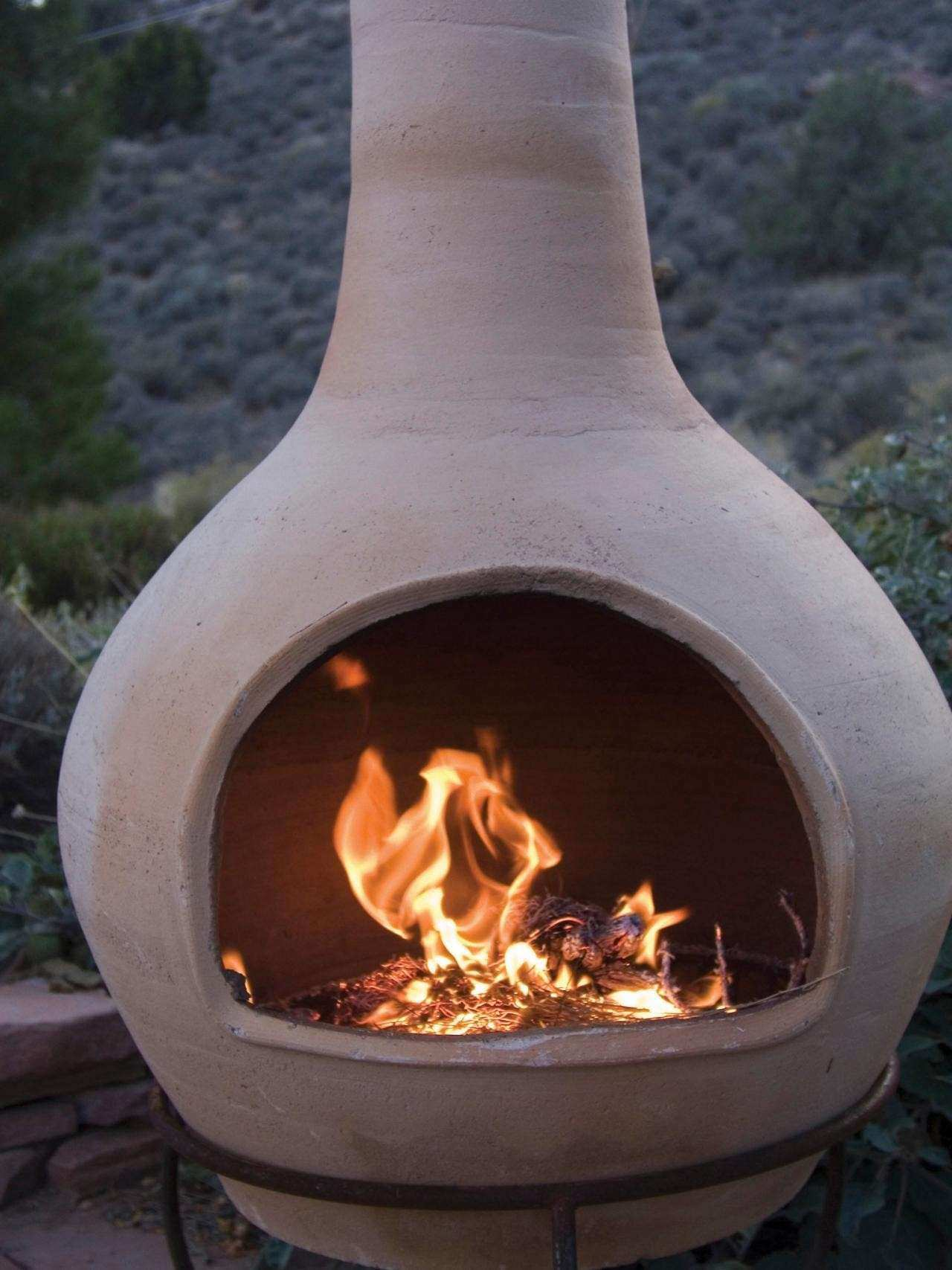 Outdoor Clay Chiminea Fireplace Options