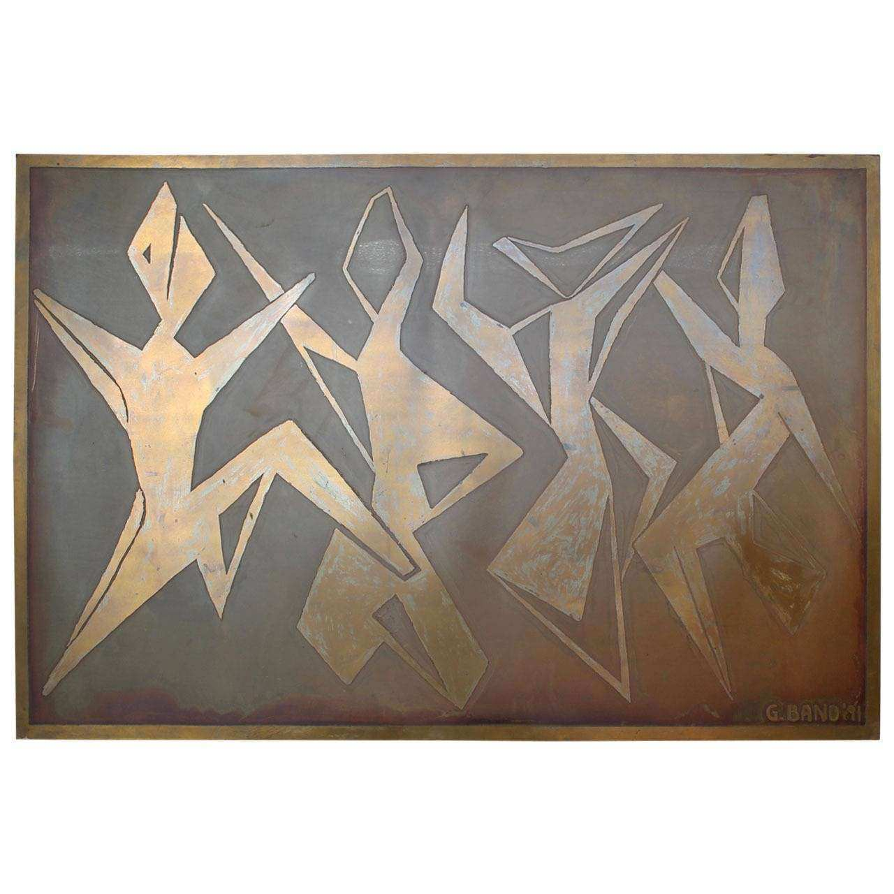 Beautiful Mexican Brass Carved Wall Art Piece by G Bano