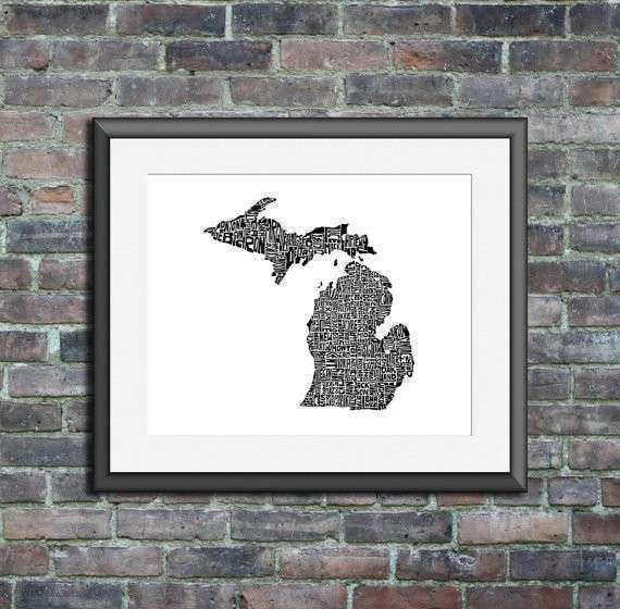 Michigan typography map art print 16x20 customizable