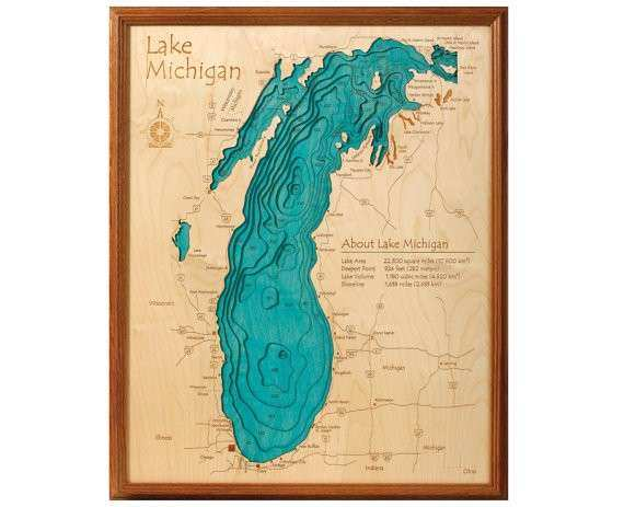 Lake Michigan 24x30 3D Wall Art by LakeArtCollection on Etsy