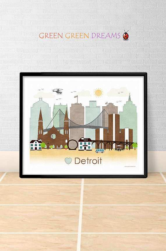 Detroit Poster print Wall art Detroit Michigan by