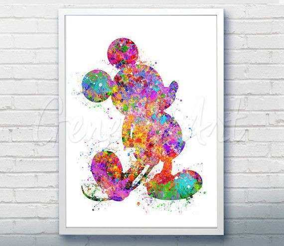 Disney Mickey Mouse Watercolor Art Print Wall Decor