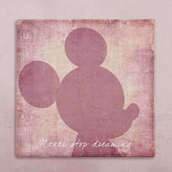 Items similar to Disney wall art canvas in vintage style