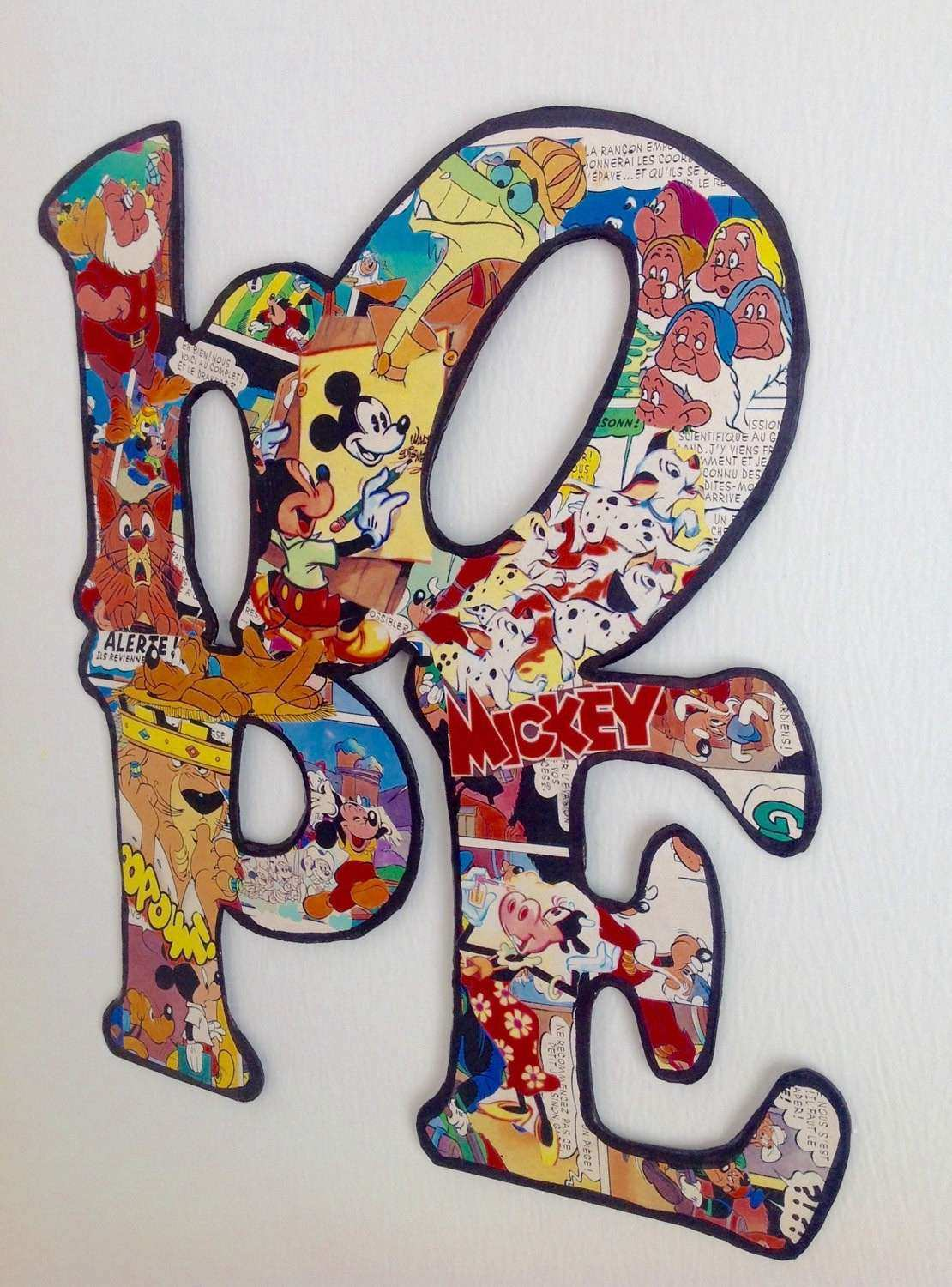 HOPE sign ic book letters Mickey Mouse collage wall art