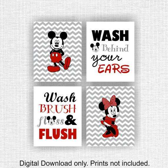 Mickey Mouse Wall Art Unique Mickey Mouse And Minnie Mouse Bathroom Wall  Decor Wash Brush