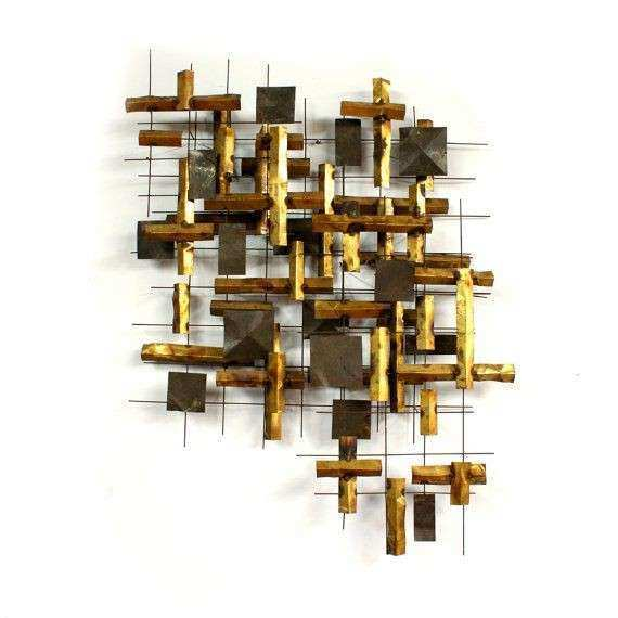 Brutalist Abstract Metal Wall Sculpture Mid century