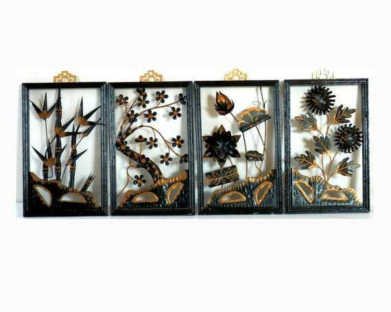 Mid Century Modern Metal Sculpture 3D Wall Hangings by