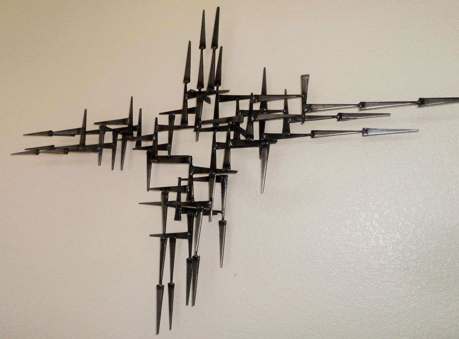 Mid Century Brutalist abstract metal Wall Sculpture Signed
