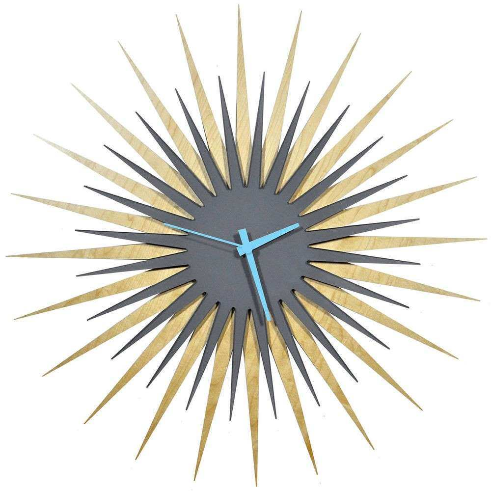Midcentury Modern Starburst Clock Contemporary Sunburst