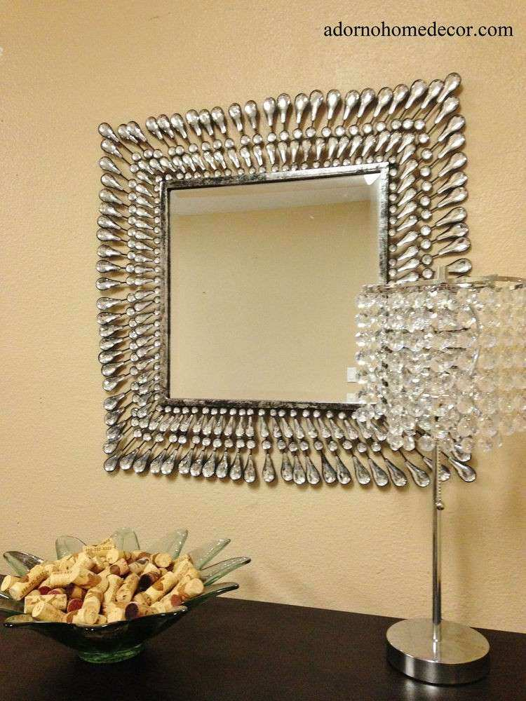Metal Wall Square Crystal Mirror Rustic Modern Crystal