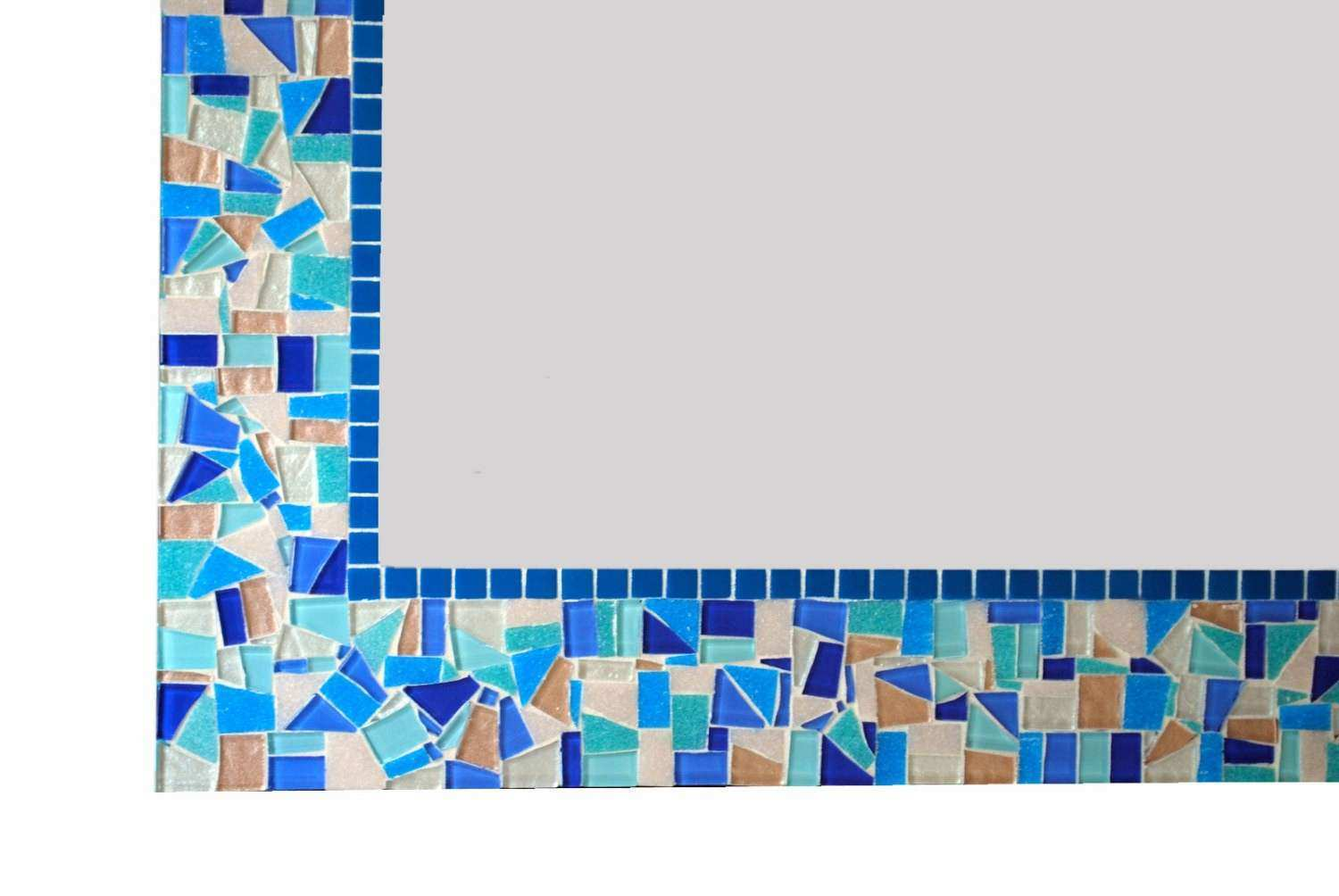 Blue Mosaic Mirror Bathroom Decor Handcrafted Wall Art