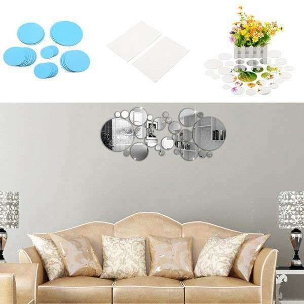 Circle Mirror Wall Sticker For Home Decor Living Room