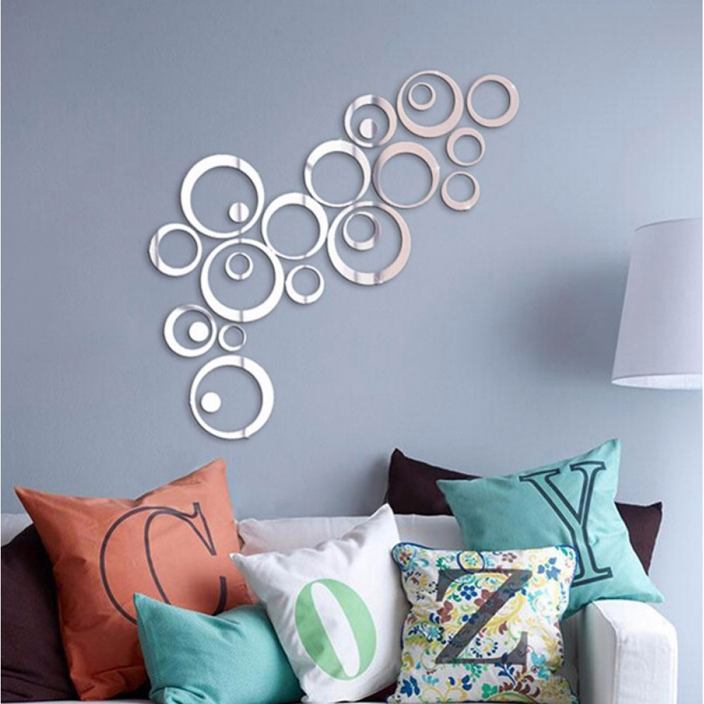 24Pcs Mirrored Circles Wall Stickers